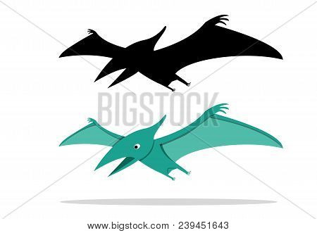 Pterosaurs, Flying Dinosaur On White, Vector Art Design