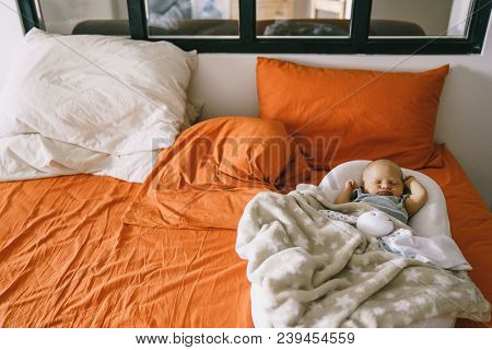 Healthy Daytime Sleep For The Newborn. A Child Sleeps In The Orthopedic Baby Cocoon On A Larger Bed