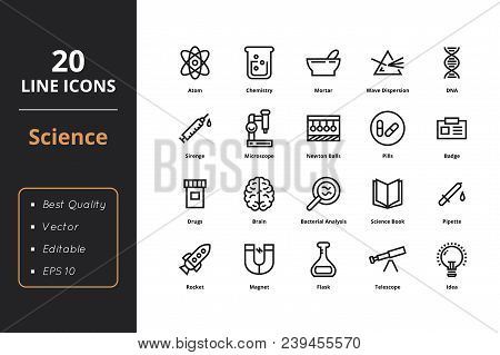 Science Thin Line Icons. Icons For Science Web And User Interfaces