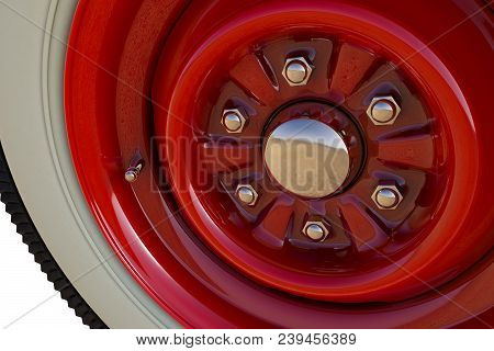 Red Retro Car Wheel Close Up. 3d Render