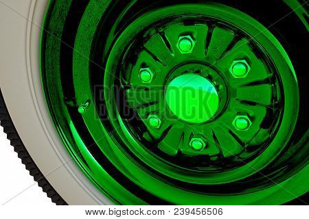 Green Retro Car Wheel Isolated On White Background. 3d Render