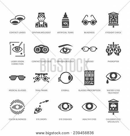 Ophthalmology, Eyes Health Care Glyph Icons. Optometry Equipment, Contact Lenses, Glasses, Blindness