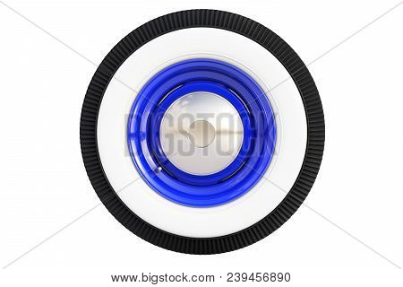 Blue Retro Car Wheel Isolated On White Background. 3d Render