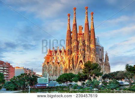 Barcelona, Spain - Feb 10: View Of The Sagrada Familia, A Large Roman Catholic Church In Barcelona,