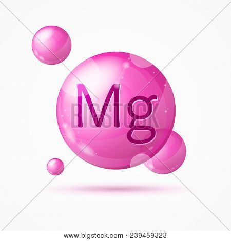 Realistic Detailed 3d Magnesium Background Card Concept Mineral Element Healthy Nutrition Or Diet. V