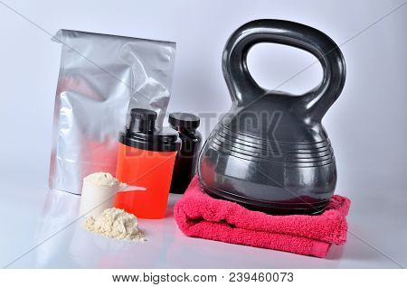 Protein Pack And Protein Powder, Vitamines, Shaker, Towel And Kettlebell - Fitness Concept, Isolated