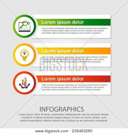 Modern Vector Illustration. Infographic Template With Three Elements, Circles And Text. Step By Step