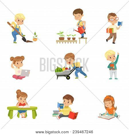 Adorable Little Kids Reading Books And Working In The Garden Set, Cute Preschool Children Learning,