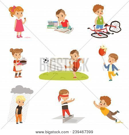 Childrens Failures And Mistakes Set, Frustrated Kids Experiencing Their Failures Vector Illustration