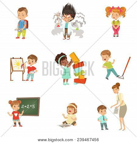 Childrens Failures And Mistakes Set, Frustrated Little Kids Experiencing Their Failures Vector Illus