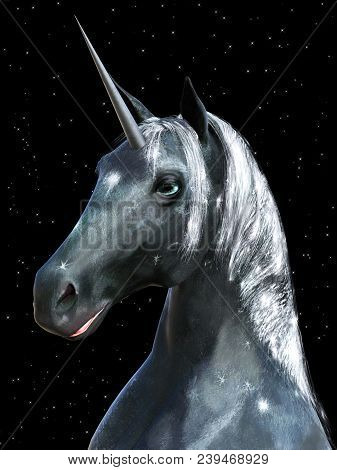 3d Rendering Of A Black Fairy Tale Fantasy Unicorn With A Star Background At Night.