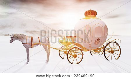 3d Rendering Of A Fairy Tale Fantasy Unicorn Dream Carriage In A Winter Landscape.