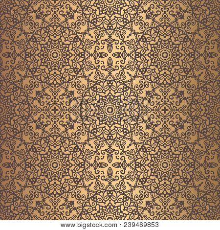Vector Arabesque Pattern. Seamless Flourish Mandala Background With Golden Floral Elements. Intricat