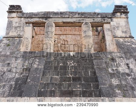 Ancient Wall Ruins Of Great Ball Court Buildings On Chichen Itza City, Mexico, Most Impressive Of Ar
