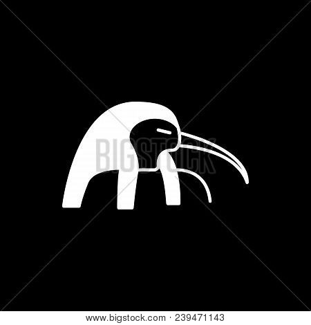 Egyptian God Tot Icon. Silhouette Egyptian God Tot Vector Icon For Web Design Isolated On Black Back