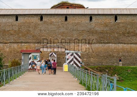 Shlisselburg, Saint Petersburg, Russia - August 21, 2017: Pier At The Fortress Of Oreshek.  Medieval