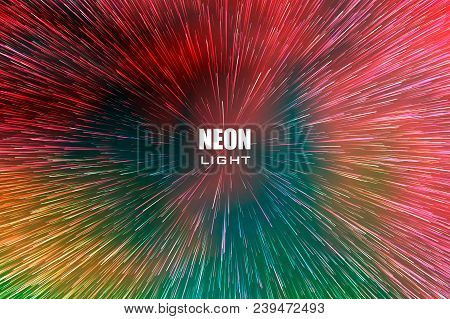 Light Rays. Neon Radial Lines Background For Comic Book. Circular Geometric Space Background. Manga