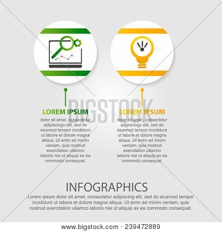 Modern Vector Illustration 3D. Template Of Circles Of Infographics With Two Elements. Designed For B