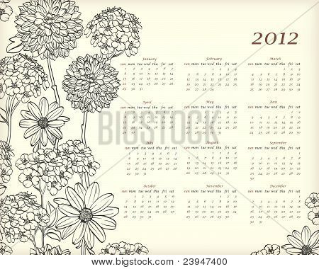Floral calendar for 2012 year with habd drawn flowers poster