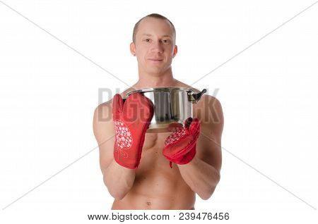 Young Sexy Cook Shirtless.  Handsome Man Shirtless Is Holding A Pan. White Background.