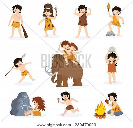 Caveman Kids Vector Primitive Children Character And Prehistoric Child With Stoned Weapon On Mammoth