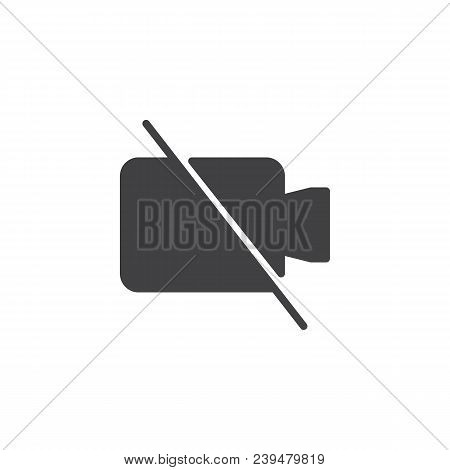No Video Camera Vector Icon. Filled Flat Sign For Mobile Concept And Web Design. No Record Video Sim
