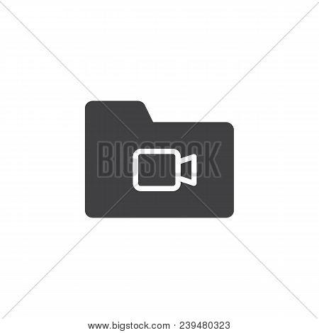 Video File Folder Vector Icon. Filled Flat Sign For Mobile Concept And Web Design. Multimedia Folder