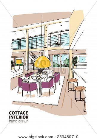 Colored Sketch Of Residential House Or Summer Cottage Interior Furnished In Modern Scandinavian Styl