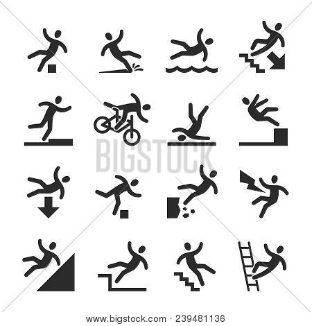 Stick Figure Man Falling Beware, Hazard Warning Symbols. Person Injury At Work Vector Signs Isolated