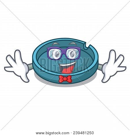 Geek Ashtray Character Cartoon Style Vector Illustration