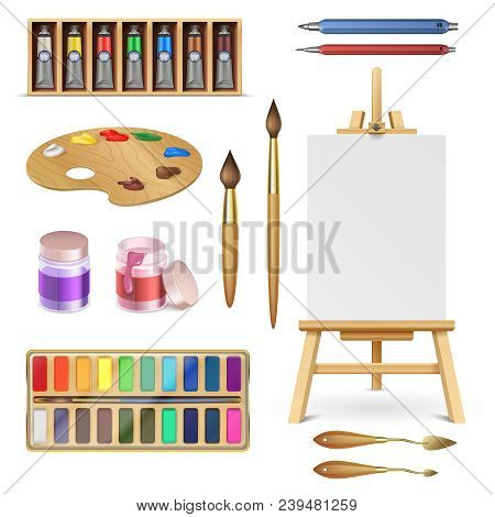 Artistic Tools And Art Supplies With Easel, Palette Paints Brush And Color Pencil Isolated Vector Se