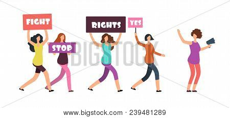 Women Protesters Walking On Manifestation. Feminism, Womens Rights And Protest Vector Concept. Illus