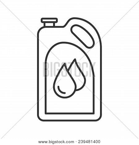 Motor Oil Linear Icon. Plastic Jerry Can With Liquid Drops. Fuel Container. Thin Line Illustration.