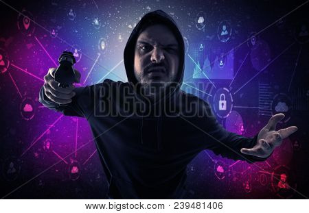Armed burglar in dark secured database network cloud and report concept