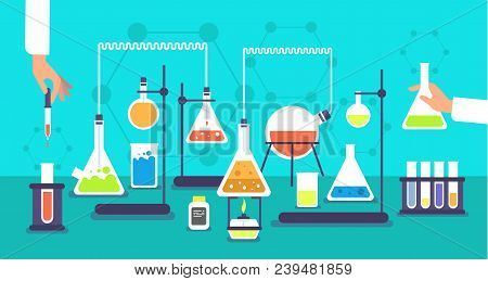 Chemical Equipment In Chemistry Analysis Laboratory. Science School Research Lab Experiment Vector B