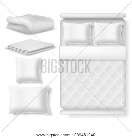 Blank White Realistic Bedding Top View. Bed With Blanket, Pillow, Linen And Folded Towel. Vector Ill