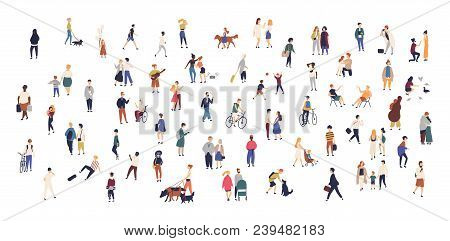 Crowd Of Tiny People Walking With Children Or Dogs, Riding Bicycles, Standing, Talking, Running. Car