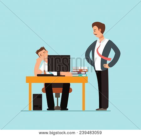Bored Lazy Worker At Desk Behind Computer And Angry Boss In Office Vector Illustration. Lazy Charact