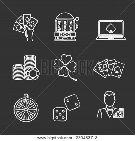 Casino Chalk Icons Set. Four Aces, Slot Machine, Online Casino, Dice, Croupier, Wheel Of Fortune, Ga