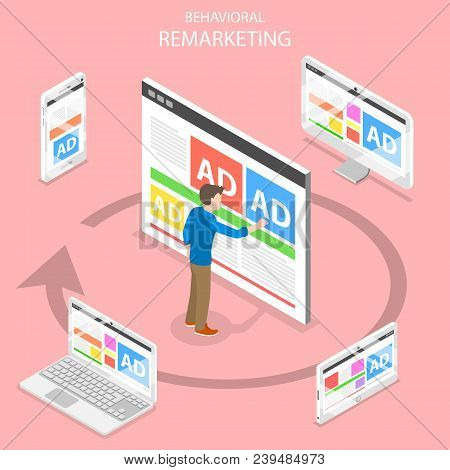 Remarketing Flat Isometric Vector Concept. A Man Pushing An Ad On The Web Page And Gets The Same Adv