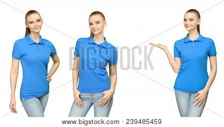 Set Promo Pose Girl In Blank Blue Polo Shirt Mockup Design For Print And Concept Template Young Woma