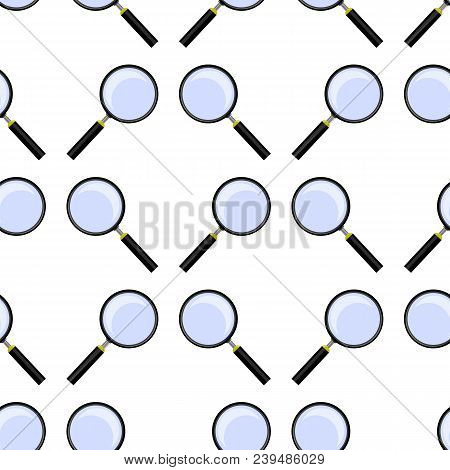 Magnifying Glass With Reflection Seamless Pattern On White Background. Magnify Icon In Flat Style De