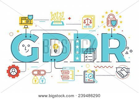 Gdpr (general Data Protection Regulation) Word Lettering Illustration With Icons For Web Banner, Lan
