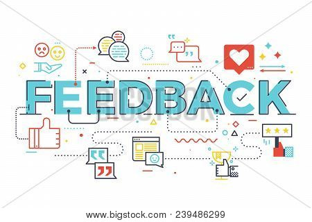 Feedback Word Lettering Illustration With Icons For Web Banner, Landing Page, Essay, Etc.