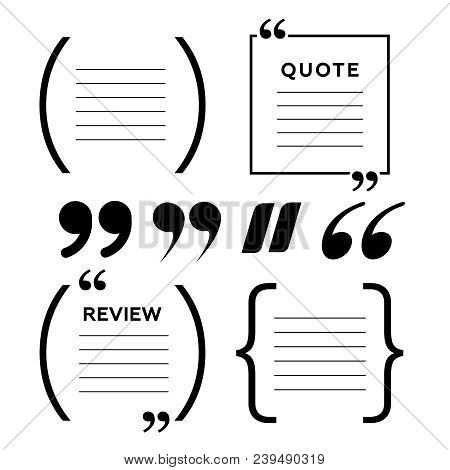 Quotes Icon Vector Set. Quote Marks Vector Symbol. Chat Quote Icon
