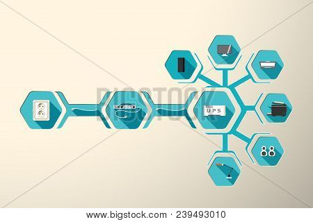 Blank Of Infographics Set Of Desktop Computer Periphery Electrical Connection With Hexagon Icons On