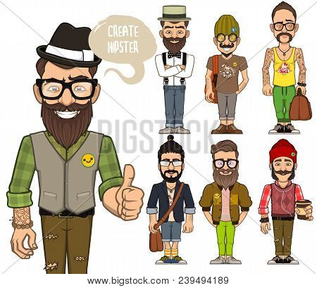 A Set Of Characters Of Hipsters. You Can Use Ready Made Characters. Or You Can Combine Parts Of Thes