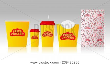 Fried Chicken Logo And Identity. Letters On A Form Like Red Rooster Comb. Mock Up Food Packages. Cor