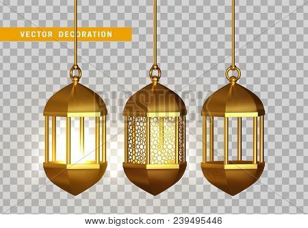 Gold Vintage Luminous Lanterns. Arabic Shining Lamps. Isolated Hanging Realistic Lamps. Effects Of T