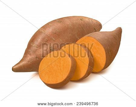 Sweet Potato Or Yams Isolated On White Background. With Clipping Path For Package Design